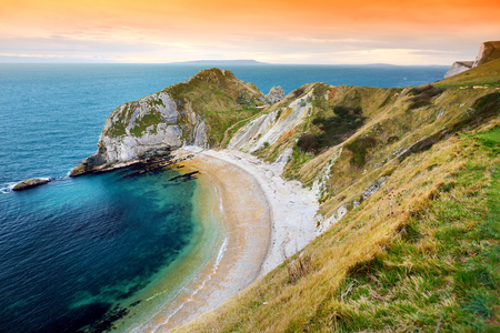 Man OWar Cove on the Dorset coast in southern England, between the headlands of Durdle Door to the west and Man O War Head to the east, Dorset, England.