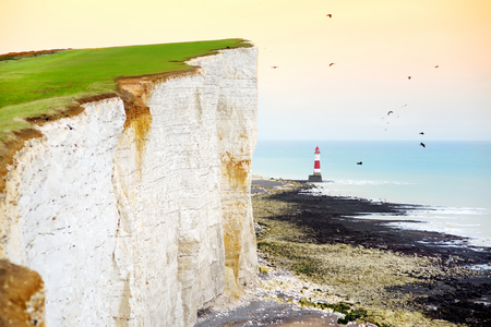 Beautiful view of white chalk cliffs of the Seven Sisters at Birling Gap coastline, Eastbourne, East Sussex, UK Stock Photo