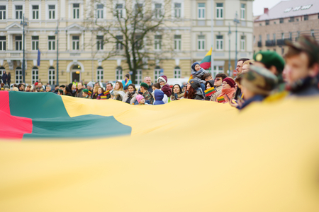 VILNIUS, LITHUANIA - MARCH 11, 2017: Thousands of people taking part in a festive events as Lithuania marked the 27th anniversary of its independence restoration. 報道画像