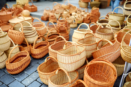 Various baskets sold on Easter market in Vilnius. Annual spring fair hold in March on the streets of capital of Lithuania.