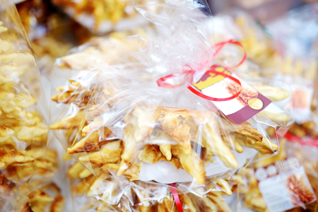 Traditional Lithuanian wedding cake called sakotis sold on traditional spring fair