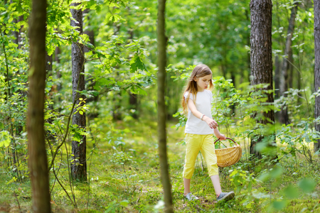 Cute little girl having fun during forest hike on beautiful summer day. Active family leisure with kids.