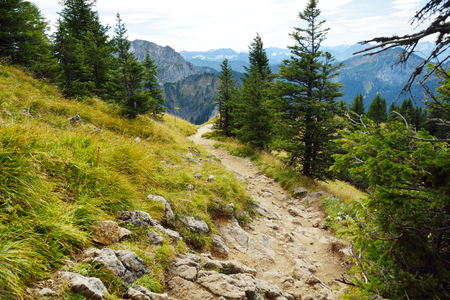 Picturesque views from the Tegelberg mountain, a part of Ammergau Alps, located nead Fussen town, Bavaria, Germany.