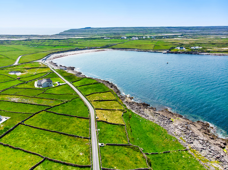 Aerial view of Inishmore or Inis Mor, the largest of the Aran Islands in Galway Bay, Ireland. Famous for its strong Irish culture, loyalty to the Irish language, and a wealth of ancient sites.