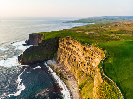 World famous Cliffs of Moher, one of the most popular tourist destinations in Ireland. Aerial view of widely known tourist attraction on Wild Atlantic Way in County Clare. Stock Photo