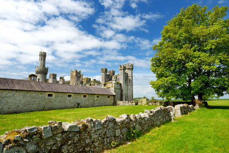 The towers and turrets of Ducketts Grove, a ruined 19th-century great house and former estate in County Carlow, Ireland.