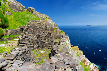Skellig Michael or Great Skellig, home to the ruined remains of a Christian monastery. Inhabited by variety of seabirds, including gannets and puffins. UNESCO World Heritage Site, Ireland. Stock Photo