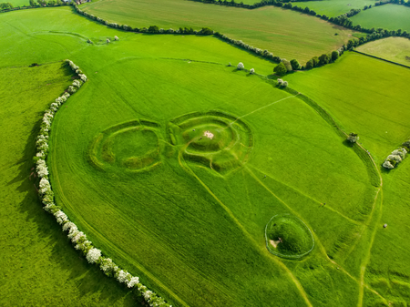 Aerial view of the Hill of Tara, an archaeological complex, containing a number of ancient monuments and, according to tradition, used as the seat of the High King of Ireland, County Meath, Ireland