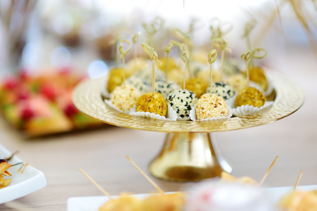 Fresh and delicious various cheese balls served on a party or wedding reception. Plates with assorted fancy finger food snacks on an event party or dinner.