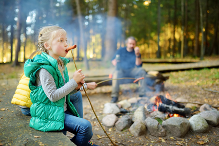 Cute little sisters and their father roasting hotdogs on sticks at bonfire. Children having fun at camp fire. Camping with kids in fall forest. Family leisure with kids at autumn.