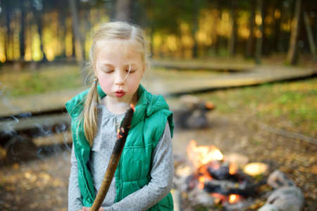 Cute little girl roasting marshmallows on stick at bonfire. Child having fun at camp fire. Camping with children in fall forest. Family leisure with kids at autumn.