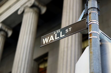 Wall Street sign in downtown Manhattan, New York, USA Stock Photo