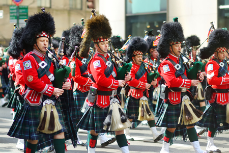 NEW YORK - MARCH 17, 2015: The annual St. Patrick's Day Parade along fifth Avenue in New York City, USA