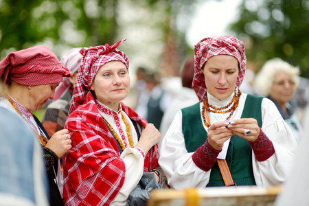 VILNIUS, LITHUANIA - JULY 5, 2014: Participants of the Lithuania Song Festival, massive traditional song and dance festival, taking place every four years.
