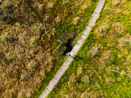 Aerial view of Varnikai cognitive walking way, leading through the most beautiful and hardly accessible places of the Varnikai preserve, located near Trakai town, Lithiania. Stok Fotoğraf