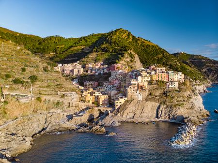 Aerial view of Manarola, the second-smallest of the famous Cinque Terre towns, one of the most charming and romantic of the Cinque Terre villages, Liguria, northern Italy.