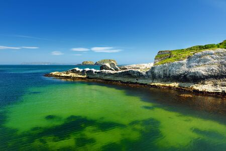 Vivid emerald-green water at Ballintoy harbour along the Causeway Coast in County Antrim. Rugged coastal landscape of Northern Ireland. Фото со стока - 128290113
