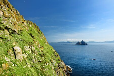 Skellig Michael or Great Skellig, home to the ruined remains of a Christian monastery. Inhabited by variety of seabirds, including gannets and puffins. Ireland. Stock Photo