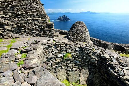 Skellig Michael or Great Skellig, home to the ruined remains of a Christian monastery. Inhabited by variety of seabirds, including gannets and puffins. Ireland. 写真素材