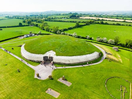Newgrange, a prehistoric monument built during the Neolithic period, located in County Meath, Ireland. One of the most popular tourist attractions in Ireland