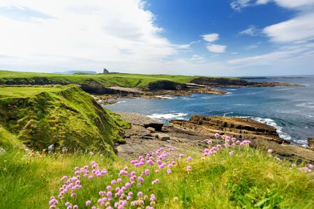 Spectacular view of Mullaghmore Head with huge waves rolling ashore. Picturesque scenery with magnificent Classiebawn Castle. Signature point of the Wild Atlantic Way, County Sligo, Ireland Фото со стока - 128290866