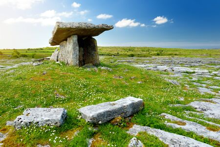 Poulnabrone dolmen, a neolithic portal tomb, popular tourist attraction located in the Burren, County Clare, Ireland