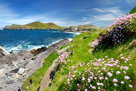Beautiful view of Valentia Island Lighthouse at Cromwell Point. Locations worth visiting on the Wild Atlantic Way. Scenic Irish countyside on sunny summer day, County Kerry, Ireland.