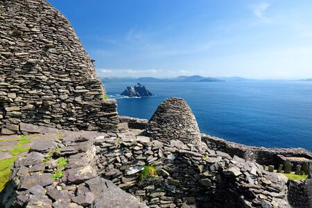 Skellig Michael or Great Skellig, home to the ruined remains of a Christian monastery. Inhabited by variety of seabirds, including gannets and puffins.  Ireland.