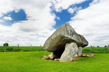 The Brownshill Dolmen, officially known as Kernanstown Cromlech, a magnificent megalithic granite capstone, weighing about 103 tonnes, located in County Carlow, Ireland.