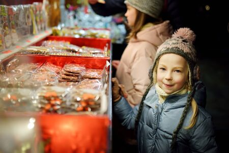 Cute young sisters choosing sweets on traditional Christmas market in Riga, Latvia. Kids buying candy and cookies on Xmas. Happy family time on chilly winter day.