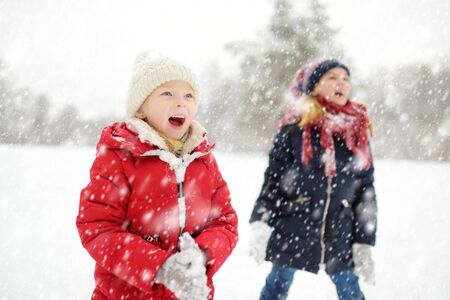 Two adorable young girls having fun together in beautiful winter park. Cute sisters playing in a snow. Winter activities for family with kids.