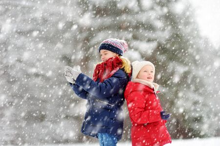 Two adorable young girls having fun together in beautiful winter park. Cute sisters playing in a snow. Winter activities for family with kids. Banque d'images