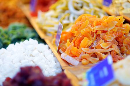 Assorted dried fruits on display at a farmers market during traditional Lithuanian spring fair in Vilnius, Lithuania