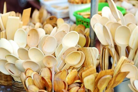 Wooden kitchenware and decorations sold on Easter market in Vilnius. Lithuanian capitals annual traditional crafts fair is held every March on Old Town streets.