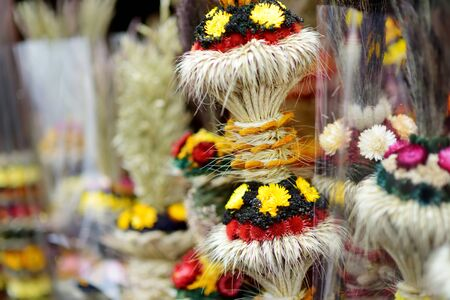 Traditional Lithuanian Easter palms known as verbos sold on Easter market in Vilnius. Lithuanian capitals annual traditional crafts fair is held every March on Old Town streets.