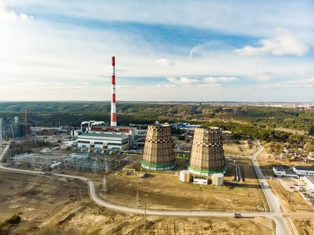 Aerial view of heating plant and thermal power station. Combined modern power station for city district heating. Industrial zone from above, Vilnius, Lithuania. 版權商用圖片