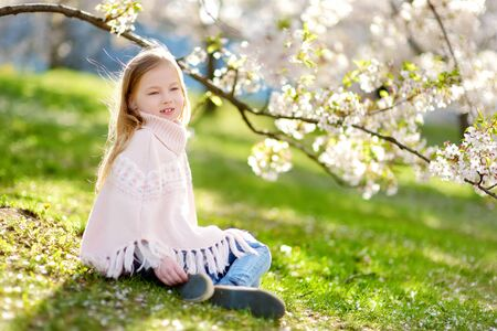 Adorable young girl in blooming cherry tree garden on beautiful spring day. Cute child picking fresh cherry tree flowers at spring. Kid exploring nature.