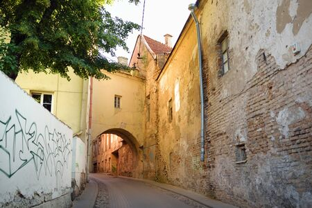 Narrow streets of the Old Town of Vilnius, one of the largest surviving medieval old towns in Northern Europe