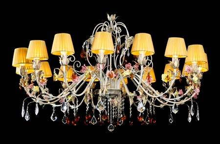 Crystal Chandelier, on black Stock Photo - 8228908