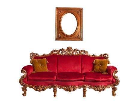 Red Barn Sofa, isoliert auf weiss