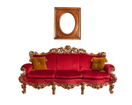 old sofa:  Red baroque sofa, isolated on white
