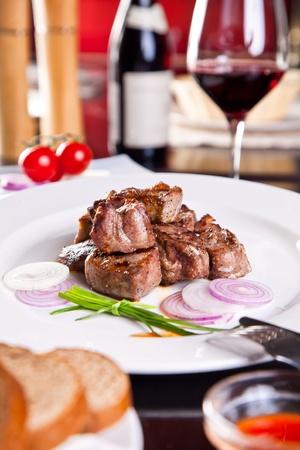 Dinner. Roast pork, red wine