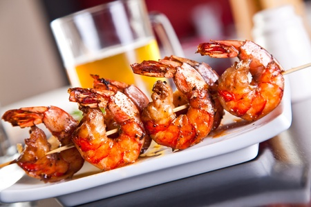 seafood dinner: Shrimp grilled with beer