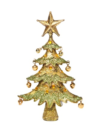 christmastree: Golden christmas-tree, isolated on white
