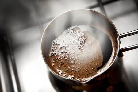 steaming coffee: steaming coffee
