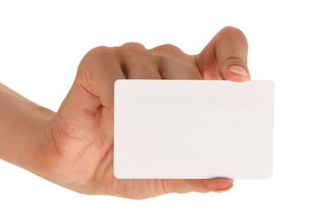 businesscard: blank businesscard in woman