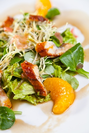 Chicken salad with mandarine and orange