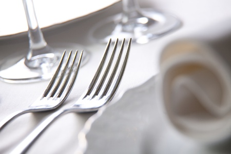 dining table: Place setting, close-up photo Stock Photo