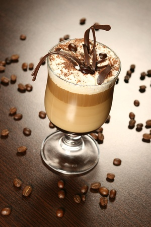 frappe: late coffee with chocolate and coffee grains