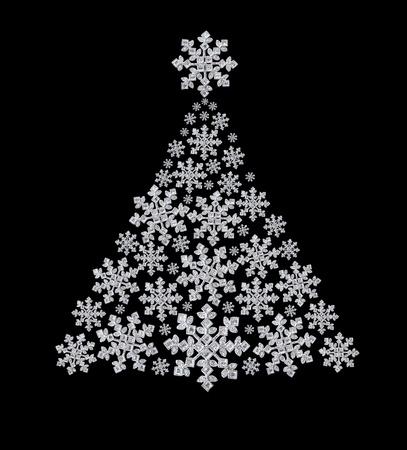 Pelz-Baum aus Diamant Schneeflocken Lizenzfreie Bilder